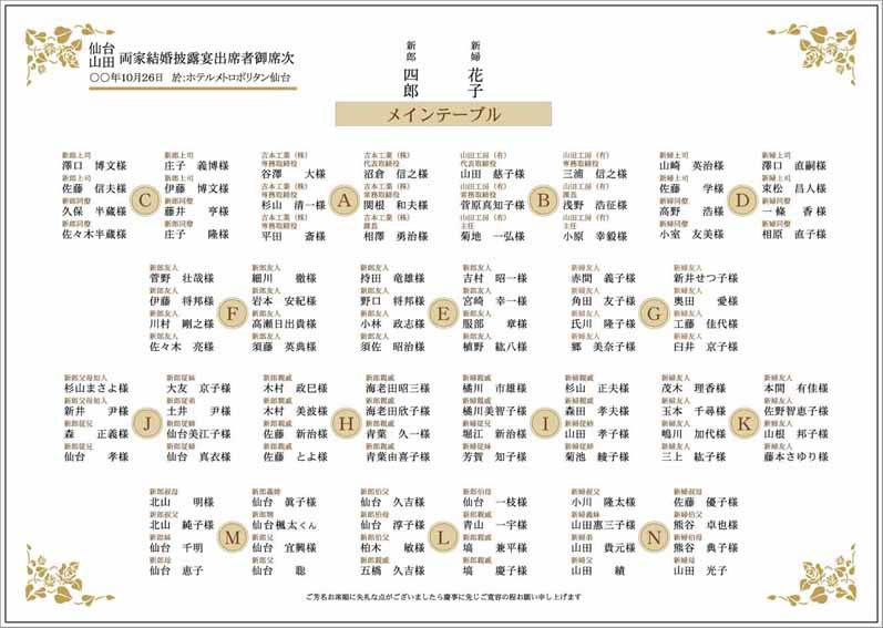 カード お礼 カード テンプレート : 結婚式 席次表「ローズ」A4横 ...